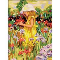 """Картина по номерам """"Алиса с цветами"""" 40х50 см. КНО022. Идейка. Без коробки."""