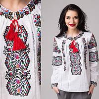Роскошная льняная сорочка вышиванка расшита этническим орнаемнтом