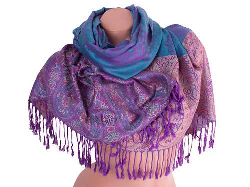 Стильный женский двусторонний палантин из пашмины 180 на 70 см ETERNO (ЭТЕРНО) ES0206-2-blue-violet фиолетовый
