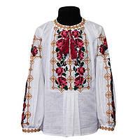 Нарядная блуза вышиванка для девочки из домотканого полотна