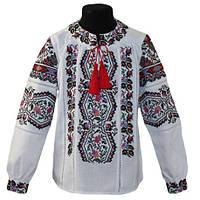 Очень красивая детская праздничная блуза украшена машинной вышивкой крестиком