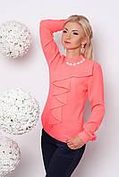 Модная женская блузка длинный рукав №370 (розовый)