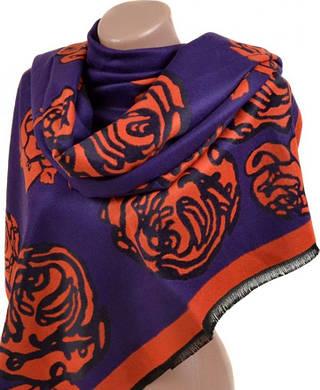 Оригинальный женский кашемировый палантин размером 70*200 см Подиум 32061 purple (синий с оранжевым)