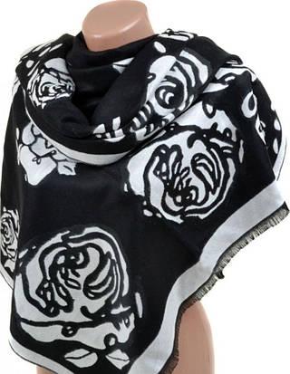 Элегантный женский кашемировый палантин размером 70*200 см Подиум 32061 black (черный с белым)