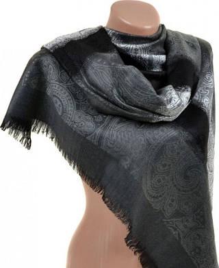 Строгий женский кашемировый палантин размером 70*180 см Подиум 32040-4 (серый с черным)