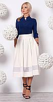 Женский костюм: блуза из креп-шифона темно-синего цвета + юбка миди молочного цвета.