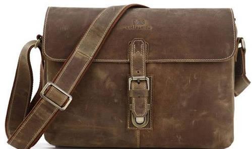 Прекрасная мужская кожаная сумка через плечо S.J.D 7084B коричневый