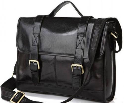 Современный мужской кожаный портфель-мессенджер S.J.D. 7101A черный