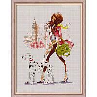 Набор для вышивания крестом «Девчонка в Париже» DOME 90110