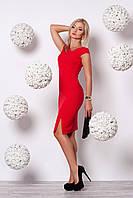 Роскошное вечернее платье красного цвета облегающее по фигуре с асимметричным вырезом