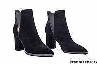 Ботильоны женские замш Basconi (ботинки стильные,строгие, внутри кожа с 35р)