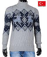 Вязаный мужской свитер с оленями,серый узор