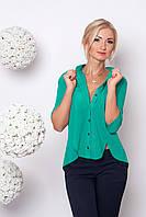 Модная шифоновая блуза зеленого цвета воротник стойка