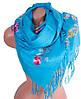 Яркий женский шерстяной шарф 180 на 70 см ETERNO (ЭТЕРНО) ES0206-7-blue голубой