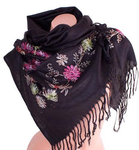 Солидный женский шерстяной шарф 175 на 70 см ETERNO (ЭТЕРНО) ES0206-7-black черный