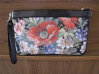 Готовая кожаная сумка-клатч под вышивку бисером