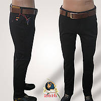 Мужские чёрные брюки под джинсы с ремнём Catenvin