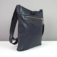 Синяя сумка-планшет кожаная молодежная Viladi
