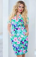 Платье женское цветы полу батал, фото 1