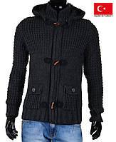 Кардиган мужской на молнии спуговицами.и капюшоном.Теплый свитер на зиму.