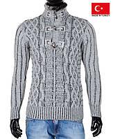 Теплый свитер под горло на пуговицах.Зимние свитера юниор.