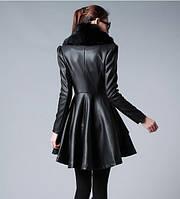 Женское кожаное пальто с мехом. Женский кожаный плащ
