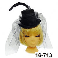 Шляпка цилиндр Наездница с фатином и пером карнавальная на резинке