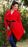 Стильный женский кардиган с широкими лацканами и накладными карманами с поясом из экокожи кашемир батал