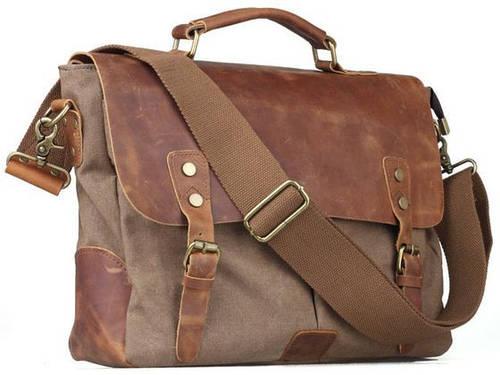 Модный мужской комбинированный портфель кожа и текстиль Tiding t11432 хаки