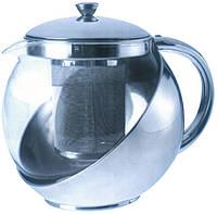Заварочный чайник из металла и стекла Empire ЕМ 9553, V=900 мл.