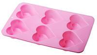 Силиконовая форма для выпечки кексов Сердце 6 штук Empire ЕМ 9826, 30*17.2*2 см
