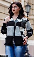 Комбинированная короткая женская куртка в крупную клетку на молнии сбоку  с отделкой из экокожи вязка батал