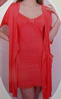 Женский комплект халатом с ночнушкой Nicoletta 90800 бретельках
