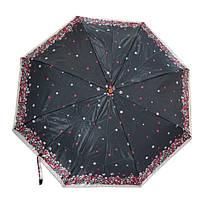 Зонт чёрный с цветами 03S-12
