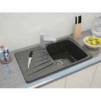 Мраморная врезная кухонная мойка с одной чашей и крылом от производителя MOKO NAPOLI - nero brilliante