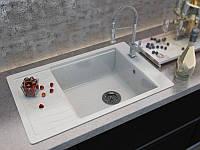 Кухонная мойка из мрамора с одной чашей и крылом прямоугольной формы от производителя MOKO FIRENZE - vanilla