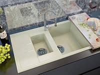 Врезная кухонная мойка полуторочашевая с крылом из мрамора от производителя MOKO MILANO цвета - beige