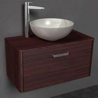 В ванную комнату шкафчик навесной с раковиной из литого мрамора Fiji 80 Mona от ТМ Буль-буль