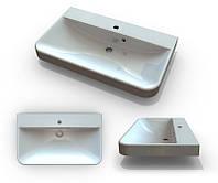 В ванную комнату белая раковина Буль-Буль Carla 800С из литого мрамора с отверстием под смеситель и переливом