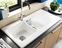 Полуторочашевая керамическая мойка для кухни белого цвета от производителя LONGRAN LISCIO 1.5B White Ceramic