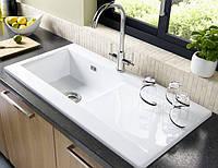 Прямоугольной формы из керамики одночашевая мойка с крылом в кухню LONGRAN LISCIO 1.0B White Ceramic белая