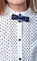 Школьная блузка белая в черный горох для девочки, 122-158