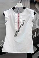 Белая стильная блузка школьная с вышивкой + подарок