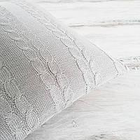 Подушка декоративная Ohaina на пуговицах вязаная в косы 40х40 хлопок цвет светло серый