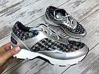 Модные кроссовки из натуральной кожи и твида