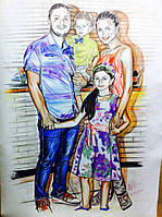 Портрет на ватмане цветными карандашами подарок для семьи на свадьбу любимому мужу жене
