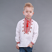 """Детская вышиванка для мальчика """"Гетьман"""" красный орнамент"""