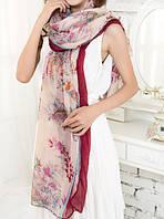 Стильный легкий женский шарф с принтом цвета марсала
