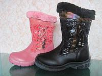 Детские зимние кожаные сапоги с натуральным мехом для девочек розового и черного цвета размер - 27-32