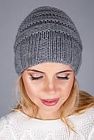 Модная вязаная женская шапка из полушерстяной пряжи | серый